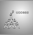 businessmen do a pyramid of acrobats to complete vector image vector image