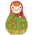 cartoon cute matrioshka with red hair smiling vector image