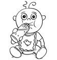 cartoon of baby drinking from feeding nursing vector image vector image