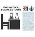 chemical desk icon with 1300 medical business vector image vector image