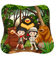 Children and grizzly bears in the woods vector image vector image