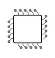 computer chip cpu line icon isolated accessories vector image