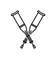 crutches crossed icon walking crutches logo vector image vector image