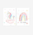 cute posters with a little unicorn rainbow vector image