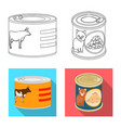 design of can and food sign set of can and vector image vector image