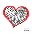 doodle heart icon isolated on white background vector image vector image