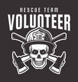firefighter skull in helmet with text volunteer vector image vector image