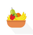 flat fruits in basket with long shadow and vector image