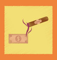flat shading style icon cigar dollar vector image vector image