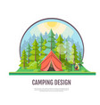 flat style design of forest landscape and camping vector image