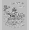 gray china hand drawing landmark 3 vector image