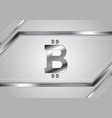 grey technology background with bitcoin emblem vector image