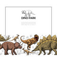 hand drawn prehistoric reptiles template vector image