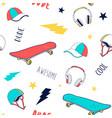 hand drawn skateboard elements and slogan vector image vector image