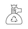 hand pick recycle garbage bag cleaning service vector image