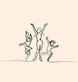 happy mother dancing with children vector image