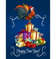 Happy New Year card with rooster cock vector image