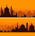 horizontal banners big eastern city at sunset vector image vector image