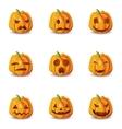Isolated Halloween Pumpkin Emoticons Set vector image