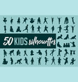 kids silhouette collection vector image vector image