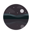 landscape nature moon stars hills reflection water vector image