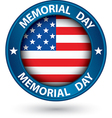 Memorial day blue label with USA flag vector image