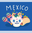 mexican skull with maracas and taco mexico vector image vector image