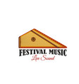 music festival icon with folk musical instrument vector image vector image