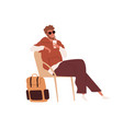 passenger sitting in chair with cup drink and vector image