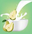 pear in milk splash vector image vector image