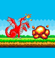 pixel monster character red three-headed dragon vector image