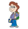 pupil boy with school bag vector image vector image