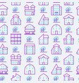 real estate seamless pattern with thin line icons vector image