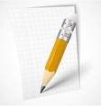 Realistic yellow pencil with paper vector image