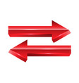 red arrow exchange direction 3d on white vector image vector image