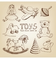retro hand drawn toys vector image