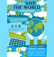 save world ecology flat banner for eco concept vector image vector image