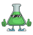 science test tube with sunglasses giving thumbs up vector image