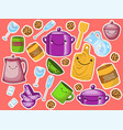 set childrens kitchen and cooking drawings vector image vector image