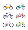 set kid bicycles on white background children vector image vector image
