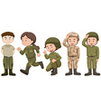 Set of people in soldier uniform vector image vector image