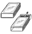 set two matchboxes open and closed vector image vector image