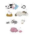 sleeping farm animals cute cartoon horse cow and vector image