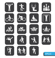 sports icons on black button vector image vector image