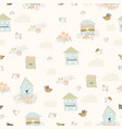 spring seamless pattern with flowersbirds and vector image vector image