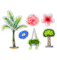 Sticker set with different kinds of plants vector image vector image