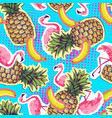 summer seamless bright pattern with flamingo a vector image vector image
