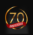 template gold logo 70 years anniversary with red vector image vector image