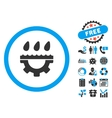 Water Service Gear Flat Icon with Bonus vector image