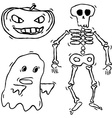 Hand drawn spooky creatures vector image